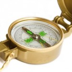 Photo of a brass compass