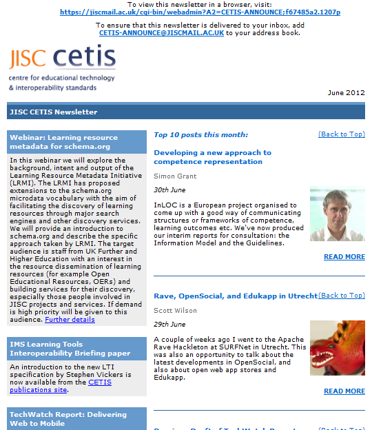 JISC CETIS newsletter