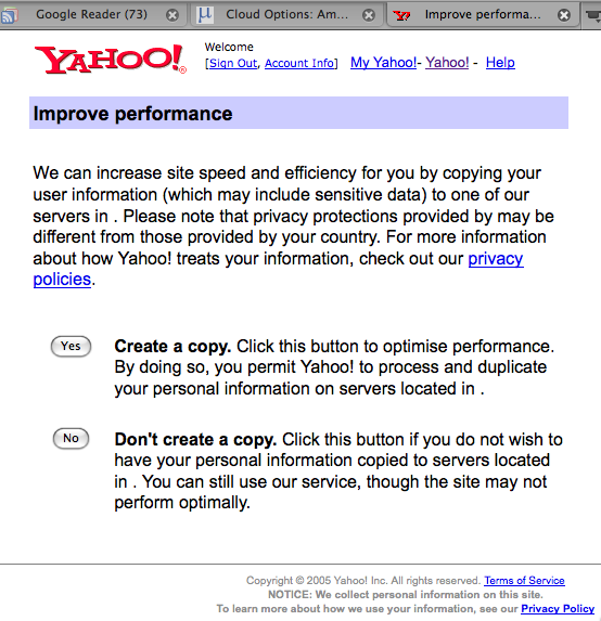 Yahoo alert page