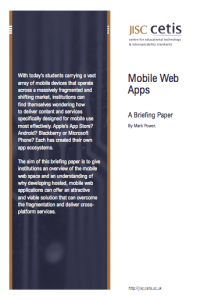 Mobile Web Apps: A Briefing Paper