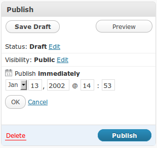 WordPress publication date option