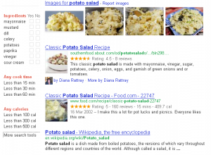 Selection from the results page for a Google search for potato salad showing enhanced search options (check boxes for specific ingredients, cooking times, calorific value) and highlighting these values in some of the result snippets.