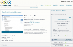 Screenshot from a resource description on OERCommons showing educational alignment information on the right.