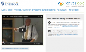 Screen shot of Kritikos information page about an MIT OCW lecture video.