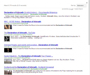 "Google search result page for ""Declaration of Arbroath"" limited to Creative works"