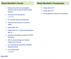 Screen shot of my cloud and cloudscape lists