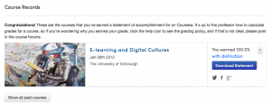 Screenshot of Coursera record of achievement
