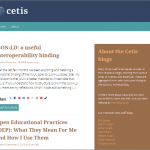 A screenshot of the front page of the Cetis blogs site